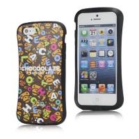 Leuke chocoolate gel case met apen kopjes voor iPhone 5 en 5S