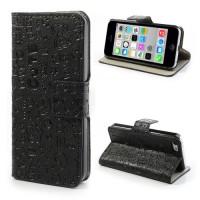 Zwarte cartoon book case voor iPhone 5C