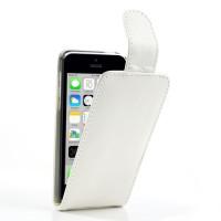 iPhone 5c Verticale leren Flip Cover met kaarthouderrd Slot, Wit