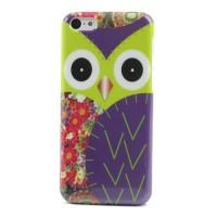 Geel met paarse uil hard case voor iPhone 5C