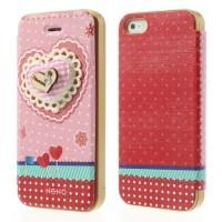 Rose book case met 3D hart en creditcardhouder voor iPhone 5 en 5S