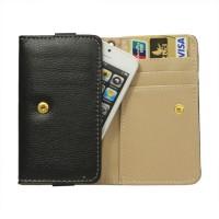 Portemonnee lederen etui voor de iPhone 5 5s 5c - Zwart